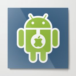 Android eats Apple Metal Print