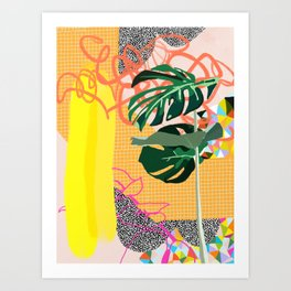Monstera bathhouse Art Print