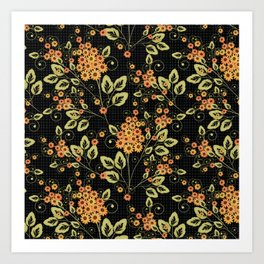 Bright floral pattern on a black background. Art Print