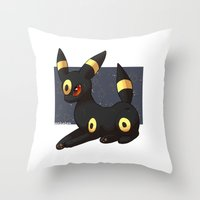 umbreon Throw Pillows featuring Umbreon by Mirikun