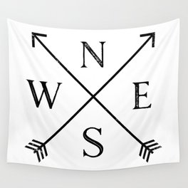 Black and White Compass Wall Tapestry