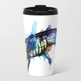 Rainbow Splash Axolotl Watercolour Travel Mug