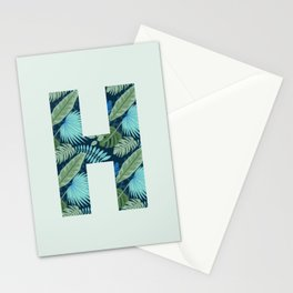 Jungle Palm Trees Initial Monogram Letter H Stationery Cards