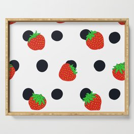 Polka dot and strawberries Serving Tray