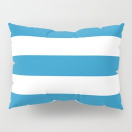 Cyan cornflower blue - solid color - white stripes pattern Pillow Sham