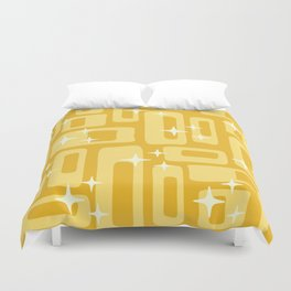 Retro Mid Century Modern Abstract Pattern 127 Yellow Duvet Cover