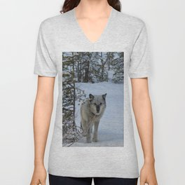Lone wolf in the snow Unisex V-Neck