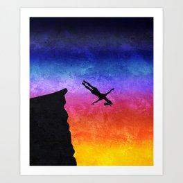 Cliff Dive Unicorn Art Print
