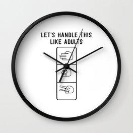 Let's Handle it Like Adults ,Rock Paper Scissors Wall Clock