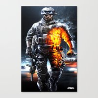 battlefield Canvas Prints featuring Battlefield 3 by Angelblack