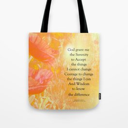 Serenity Prayer Orange Poppy Garden Glow Tote Bag