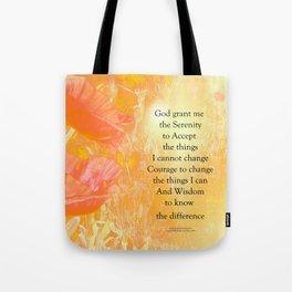 Serenity Prayer Orange Poppy Garden Glow Tote Bag