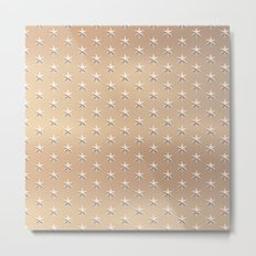 silver star pattern on gold Metal Print