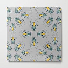Yellow Agate Beetles Pattern Metal Print
