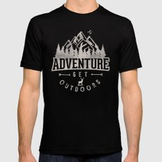 Adventure get Outdoor Black Mens Fitted Tee LARGE