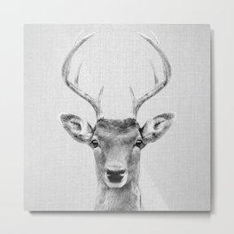 Deer 2 - Black & White Metal Print