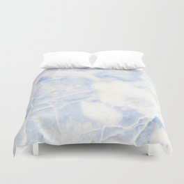 Blue and White Marble Waves Duvet Cover