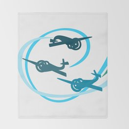 Blue Aerobatic Planes Throw Blanket