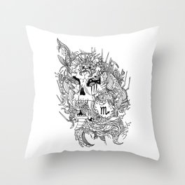 Scorpio Skull Zodiac Sign For October and November Birth Day Gift Throw Pillow