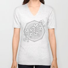 Butterflies and kaleidoscope in gray and white Unisex V-Neck