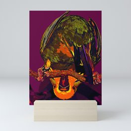 budgie hangs upside down on the branch vector art late sunset Mini Art Print
