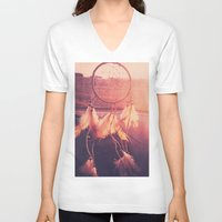 dream catcher V-neck T-shirts featuring Dream Catcher by Whitney Retter