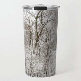 snow-covered trees and bushes Travel Mug