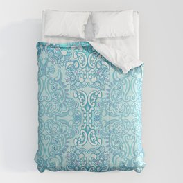 Aqua Damask Diamond Comforters