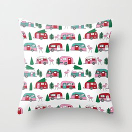 Camper vacation christmas road trip tropical home away from home pattern Throw Pillow