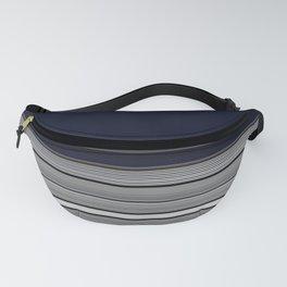 Dark Indigo Grey Stripes Fanny Pack