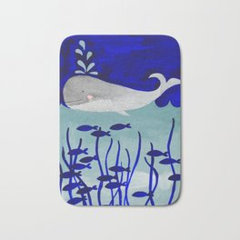 whale in the ocean watercolor illustration Bath Mat