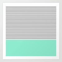 mint Art Prints featuring Minimal Mint Stripes by Allyson Johnson