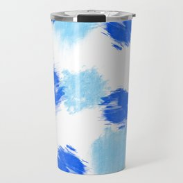 Blue paint brush effect surface pattern Travel Mug