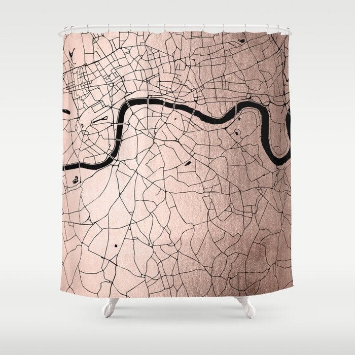 London Rosegold on Black Street Map Shower Curtain