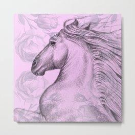 Horse On Pink Roses Metal Print