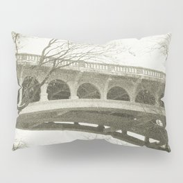 Vintage Retro Rustic Sepia Toned Bridge with Framing Tree Wall Art Lustre Print OR Framed Print Pillow Sham