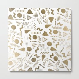 Retro abstract geometrical faux gold white 80'spattern Metal Print