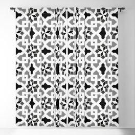 black and white -  Oriental design - orient  pattern - arabic style geometric mosaic Blackout Curtain