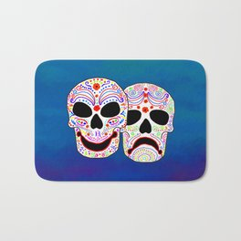 Comedy-Tragedy Colorful Sugar Skulls Bath Mat