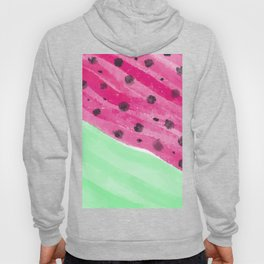 Abstract Watermelon Neon Pink Neo Mint Black Watercolor Hoody