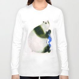"""Un panda tricote..."" Book cover Long Sleeve T-shirt"