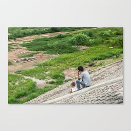 Family Time on the Hat Don Chan, Vientiane, Laos Canvas Print