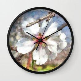 Almond Blossom Study Watercolor Wall Clock