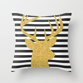 Gold Deer Black and White Stripes Throw Pillow
