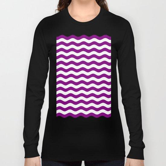 Wavy Stripes (Purple/White) Long Sleeve T-shirt