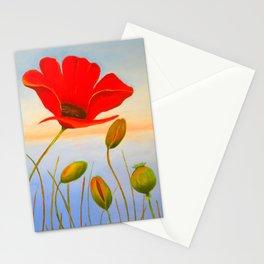 Red Poppy Sunset Stationery Cards