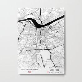 Louisville, USA Road Map Art - Earth Tones Metal Print