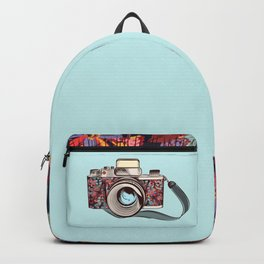 Beautiful pretty gurlish camera with flowers Backpack