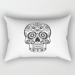 Day of the dead black glitter decorated skull - Halloween Rectangular Pillow