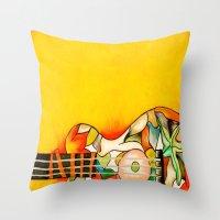 guitar Throw Pillows featuring Guitar  by Alexa Brooke Rutledge